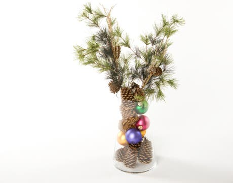 make your own tree from branches and cones