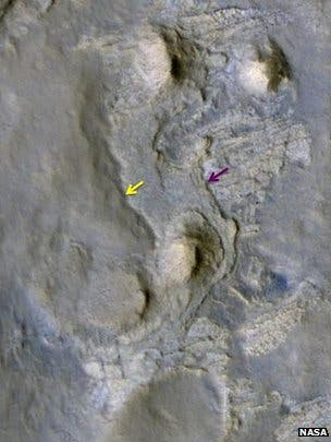 Blue and yellow arrows show where Curiosity will start drilling sedimentary samples for organic molecule analysis at a site called KMS9. (C) NASA