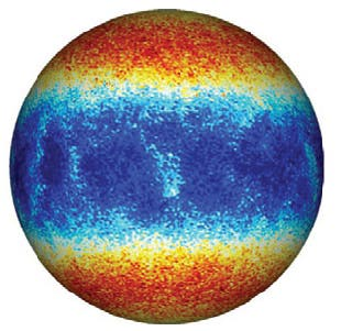 Zonal flows in Europa-like ocean simulation. Image credit: University of Texas Institute for Geophysics.