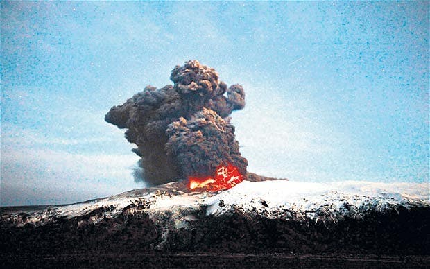 Eyjafjallajökull eruption in 2010. Photo credit: telegraph.co.uk