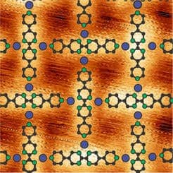 Schematic shows how iron atoms (blue) and the organic molecules (green, black) form a lattice pattern on the gold substrate. (c) Nature Comm