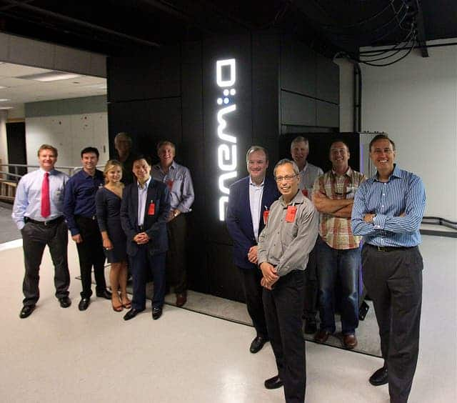 D-wave officials alongside one of their computers. Photo: Steve Jurvetson