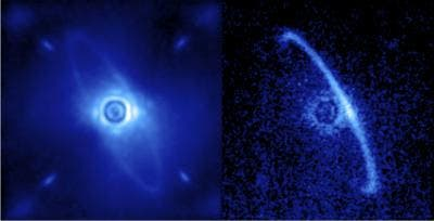 The left image (1.9-2.1 microns) shows normal light, including both the dust ring and the residual light from the central star scattered by turbulence in the Earth's atmosphere. The right image shows only polarized light. Leftover starlight is unpolarized and hence removed from this image. The light from the front edge of the disk is strongly polarized as it scatters towards us.  Image credit: Processing by Marshall Perrin, Space Telescope Science Institute