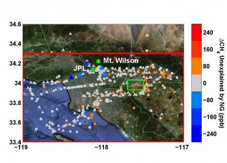 Locations of methane measurements in the greater Los Angeles basin overlaid on a Google Earth satellite image. Yellow and red colors represent an excess of methane. Image: Caltech
