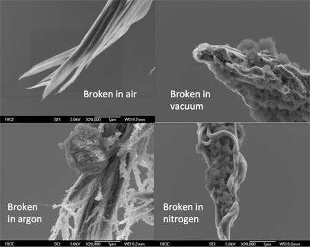 Scanning electron microscope images show typical carbon nanotube fibers created at Rice University and broken into two by high-current-induced Joule heating. Rice researchers broke the fibers in different conditions — air, argon, nitrogen and a vacuum — to see how well they handled high current. The fibers proved overall to be better at carrying electrical current than copper cables of the same mass. (Credit: Kono Lab/Rice University)