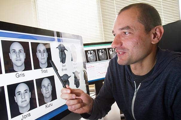 Constantin Rezlescu, a postdoctoral fellow in psychology is one of the people involved in the face brain mechanics study at Harvard. (c) Jon Chase/Harvard Staff Photographer