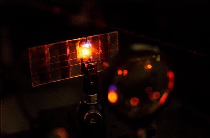 NTU's new Perovskite solar cell can also emit light when electrical current is passed through the material. Photo: Nanyang Technological University (NTU)