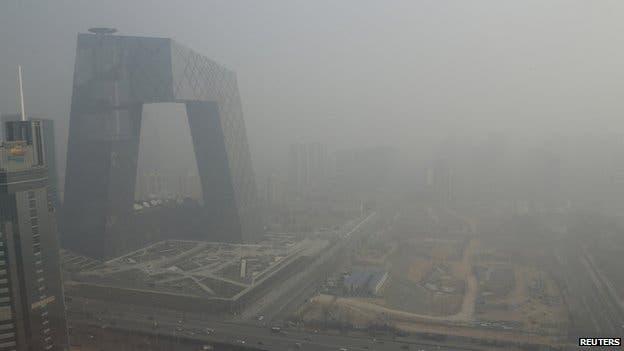 Thick smog engulfs Beijing.