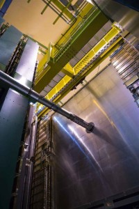 A view of the LHCb experiment at underground Point 8 on the Large Hadron Collider (LHC). The prominent tube is the LHC beam pipe, in which protons circulate at close to the speed of light (Image: Anna Pantelia/CERN)