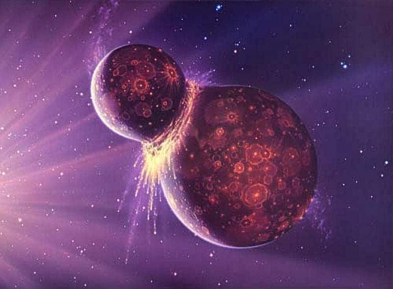 Artist impression of planetary impact that led to the formation of the moon. photo: NASA
