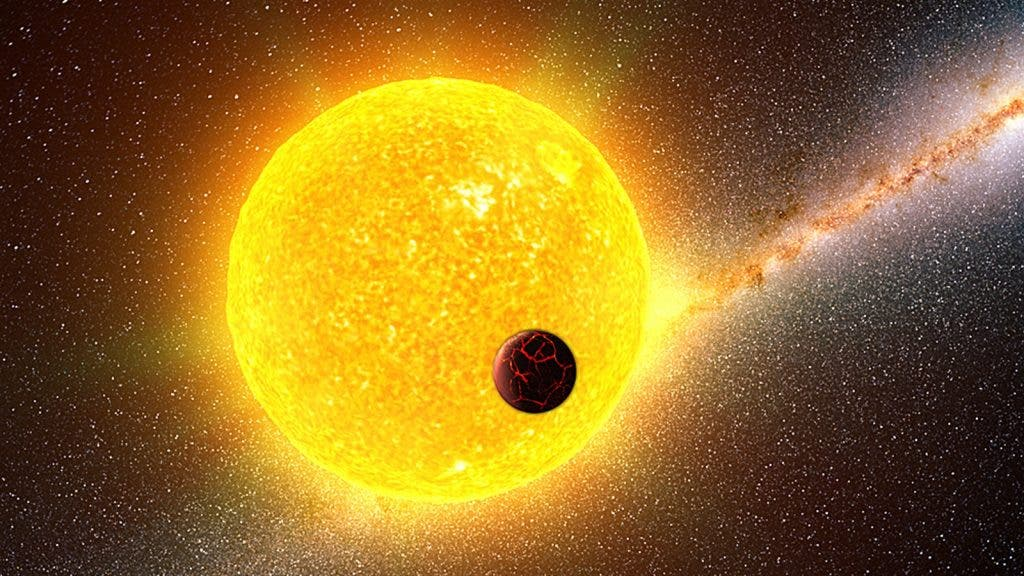 A star like our Sun is shown with an orbiting planet in the foreground in this artist's impression. Image credit: Illustration by Gabriel Perez Diaz, Instituto de Astrofisica de Canarias (MultiMedia Service)