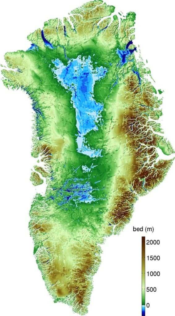 Topography of Greenland – blue is below sea level          (Mathieu Morlighem/UC Irvine)