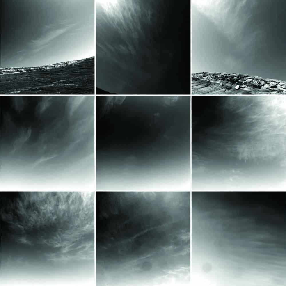 "Nine images from the Mars rover Opportunity's Navcam show the types of clouds seen over the first 9 years of the mission. The cirrus clouds are seen against a moderately dusty background sky. Most or all of the clouds are water ice, with images showing clouds occurring only during the ""aphelion cloud belt season"" when water ice clouds are expected. The top row shows images from inside Endurance crater. All images were taken during the Martian winter. (Photos: NASA / JPL /Texas A&M) )"