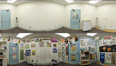 Heavily decorated classroom (bottom) disrupt attention and lead to smaller learning gains than when the decorations were removed (top image). Photo: CMU