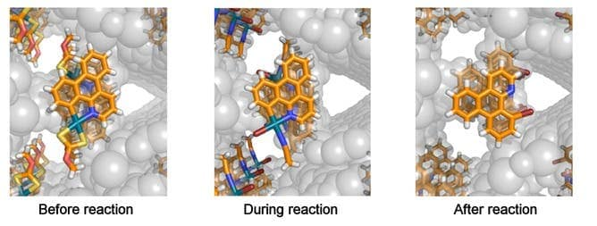 The X-ray snapshots in the figure show the atomic arrangement of the molecule being brominated before, during, and after the reaction. Photo: Fujita et al/JACS