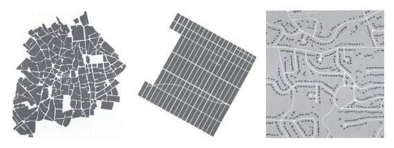 Three street networks: Organic (Seville), grid (midtown Manhattan), and hierarchical (suburban Atlanta) (Frank et al., Health and Community Design)