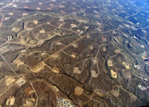Wyoming's Jonah Field, a major site of shale development. (Photo courtesy of Ecoflight.)