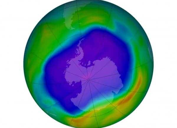 The ozone hole (purple and blue) covered much of Antarctica in 2006. Image: CAROLYN GRAMLING