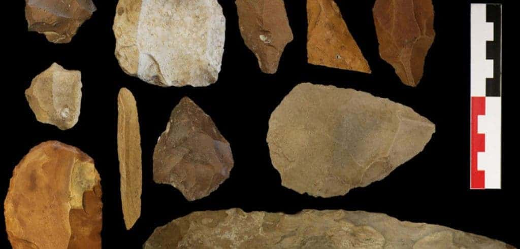 Stone tools from Kharga Oasis, Egypt, one of the archaeological sites used in the study. Photograph reproduced with kind permission from The British Museum