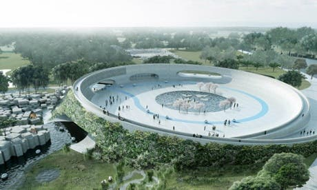 A zoo in Denmark wants to reverse the roles of captor and visitor. This is an artist's impression of how the central plaza from which visitors can visit the three section might look like. Image: BIG