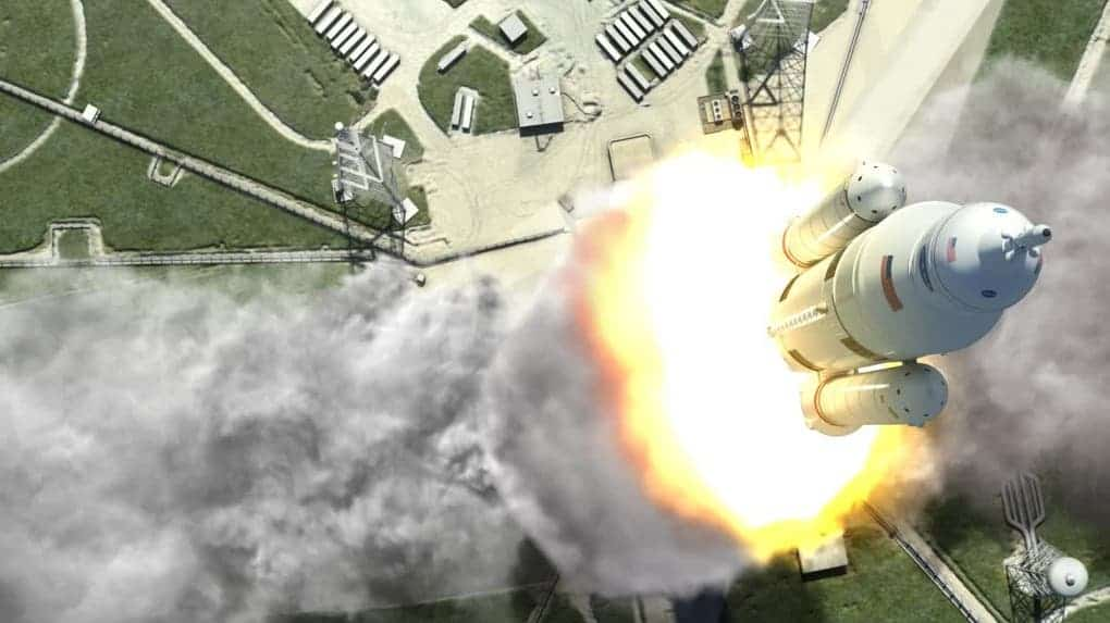 Artist's rendering of the SLS blasting off. (Credit: NASA/MSFC)