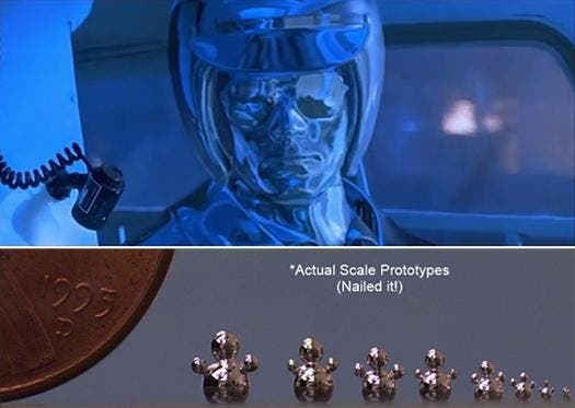 The T-1000; above: from the movies, below: a worthy try. Image: Carolco Pictures and Michael Dickey