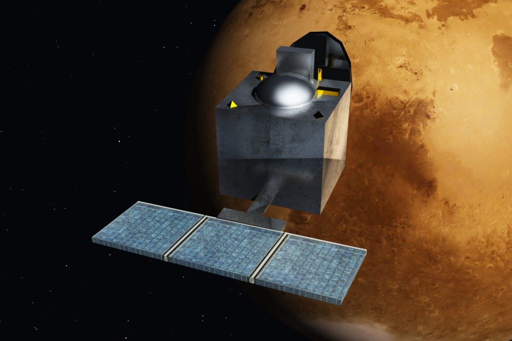 Artist conception of the Mars Orbiter Mission in orbit around Mars. Image: Wikipedia Commons