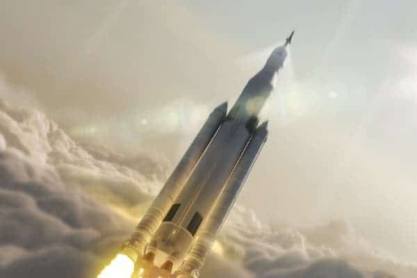 Artist impression of how the Space Launch System will look like in full throttle when its completed. Image: (NASA/MSFC)