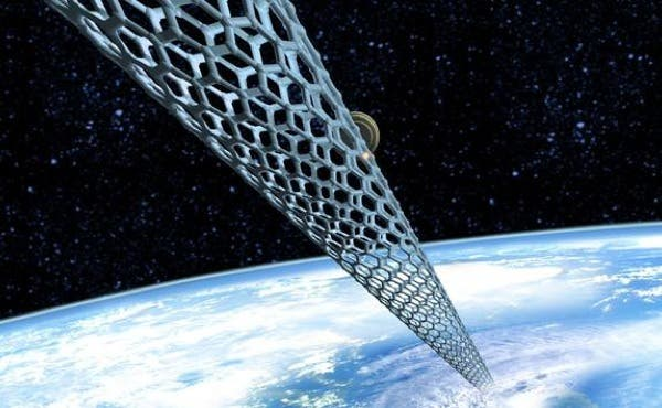 Artist impression of a possible space elevator - the image in question show the new diamond-like nanomaterial in action, though.