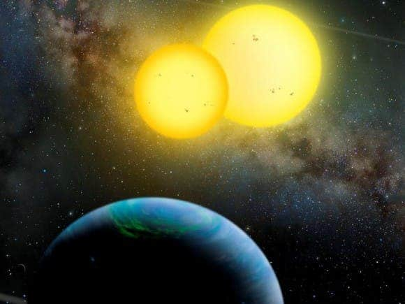 Artist's conception of the Kepler-35 system. Credit: Lynette Cook / extrasolar.spaceart.org / Nature