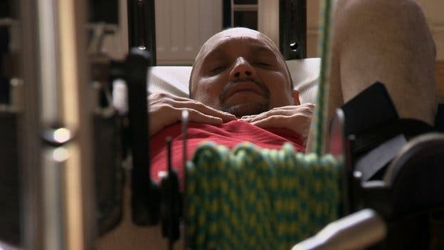 Captioned above, Mr Fidyka (40), who undergoes five hours of physical therapy each day. Photo: BBC