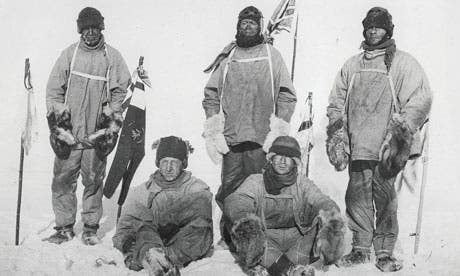 Frozen in time: the five members of Scott's expedition who made it to the South Pole in 1912, but died on the return. From left: Oates, Bowers, Scott, Wilson and Evans. Photograph: Popperfoto/Getty Images
