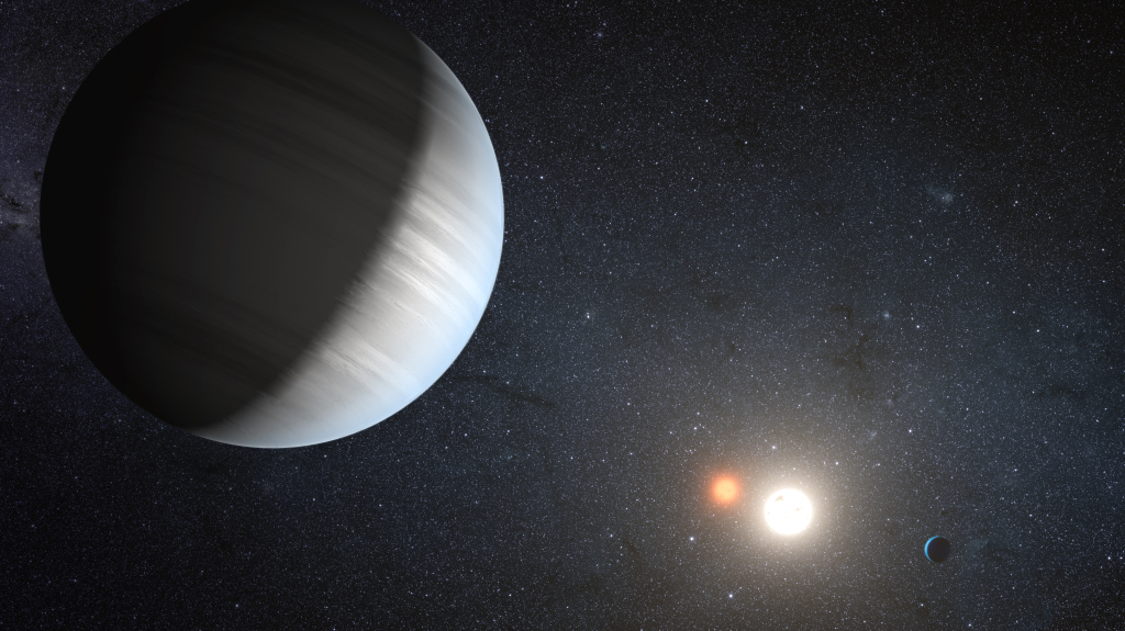 Artist's concept of exoplanets in a two-stars system. The planets found so far orbiting such systems are gas giants like Jupiter. Credit: NASA/JPL-Caltech/T. Pyle