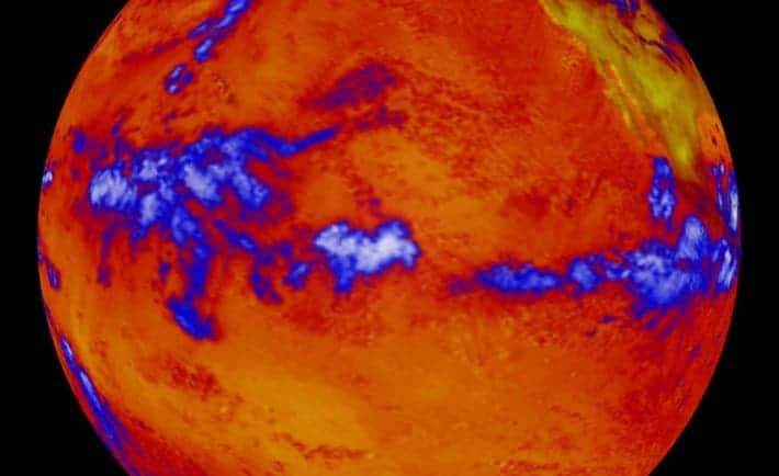 e. This image shows heat radiating from the Pacific Ocean as imaged by the NASA's Clouds and the Earth's Radiant Energy System instrument on the Terra satellite. (Blue regions indicate thick cloud cover.)