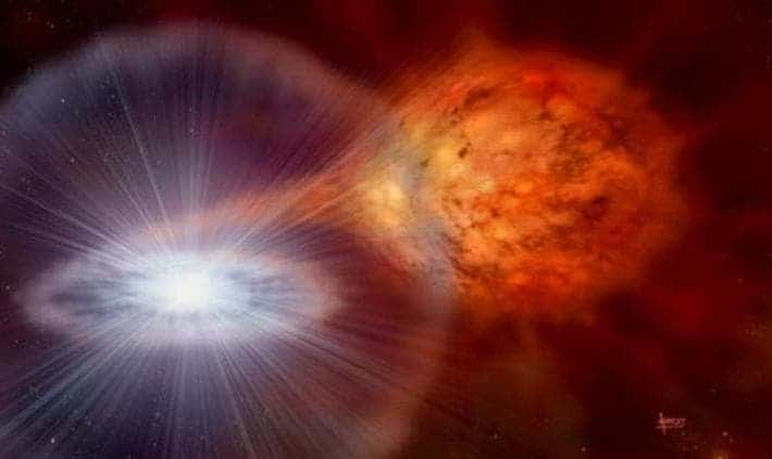 Artist impression of a dwarf star 'feeding' on donor star. Credit: David A. Hardy / astroart.org