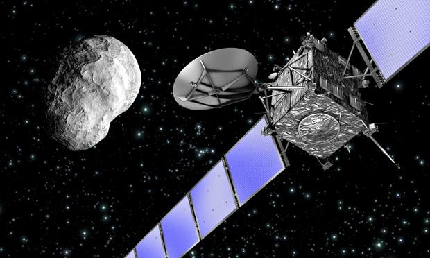 Artist's impression of the Rosetta spacecraft flying past an asteroid. Photograph: AP