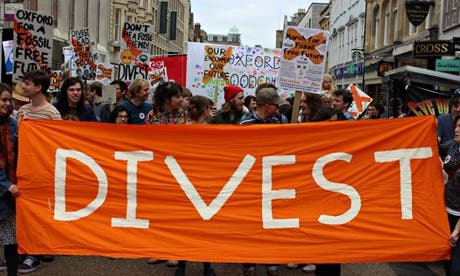 Oxford University students march for the Fossil Free Future campaign in Oxford. Photograph: Ellen Gibson/Fossil Free Future
