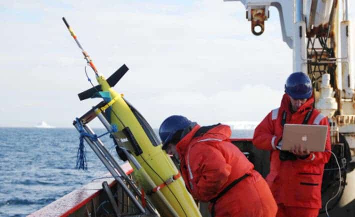 Oceanographers Liz Creed (Kongsberg, Inc.) and Andy Thompson (Caltech) run through a series of tests in preparation for the release of a Seaglider into the Weddell Sea in January 2012. (Credit: Alan Jamieson/Caltech)
