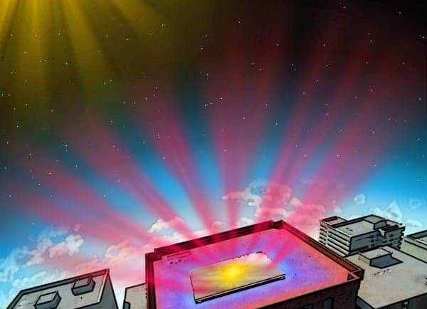 A multilayer stack cools surfaces below it by radiating heat into space. Credit: FAN LAB, STANFORD ENGINEERING