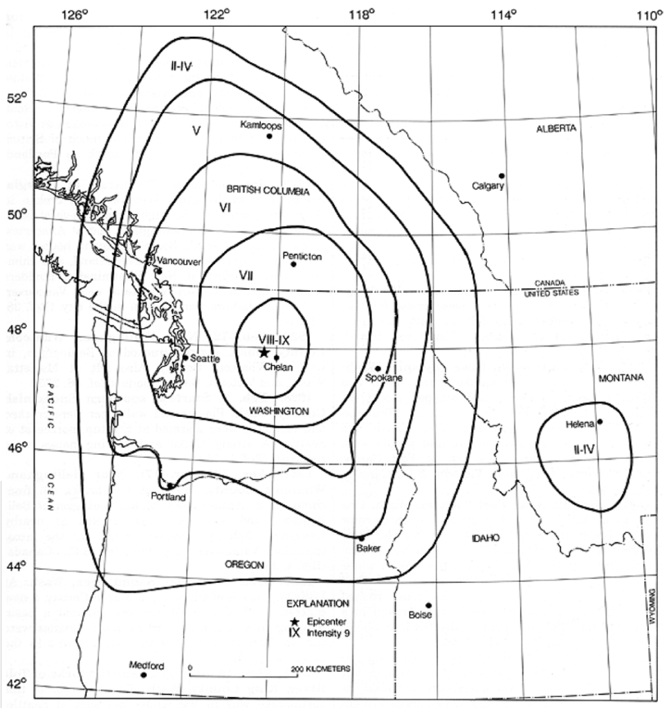1872 cascades earthquakes
