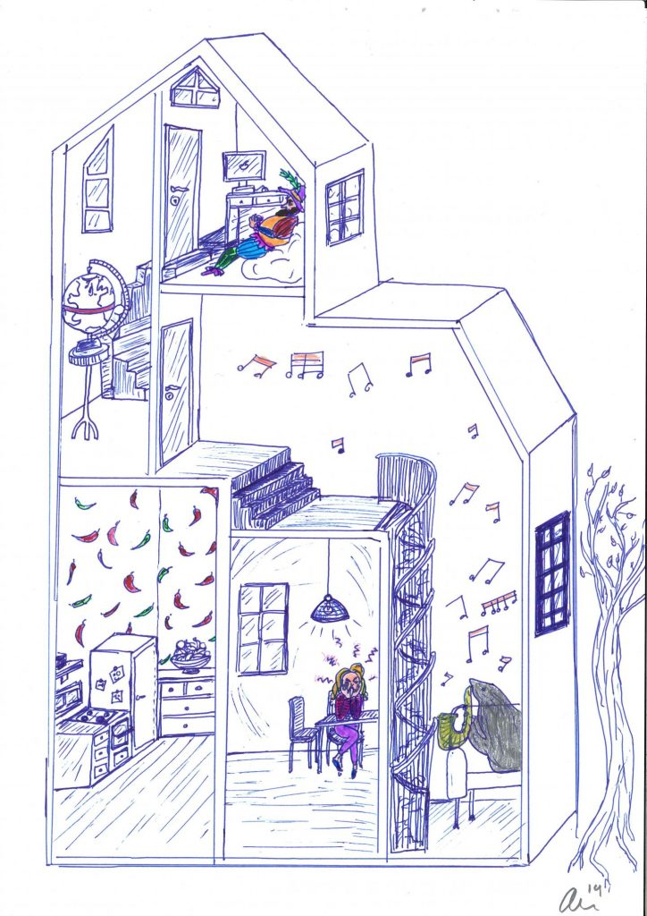 Ailin Moser, daughter of 2014 Nobel Laureates May-Britt and Edvard Moser, drew this picture of a house to illustrate how the method of loci works. If you wanted to remember the countries of South America, for example, you might imagine a seal playing a brass instrument in one room in your house to remember Brazil, and chili peppers in another room to remember Chile. (Credit: Image:Ailin Moser)
