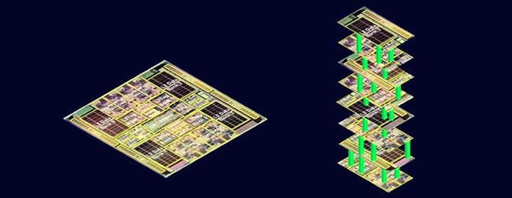 "The image on the left depicts today's single-story electronic circuit cards, where logic and memory chips exist as separate structures, connected by wires. Like city streets, those wires can get jammed with digital traffic going back and forth between logic and memory. On the right, Stanford engineers envision building layers of logic and memory to create skyscraper chips. Data would move up and down on nanoscale ""elevators"" to avoid traffic jams. Credit: Wong/Mitra Lab, Stanford"