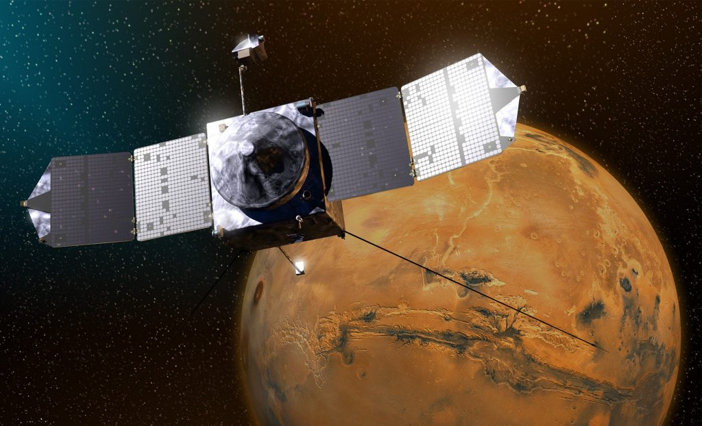 Artist impression of MAVEN spacecraft around MARS. Image: NASA