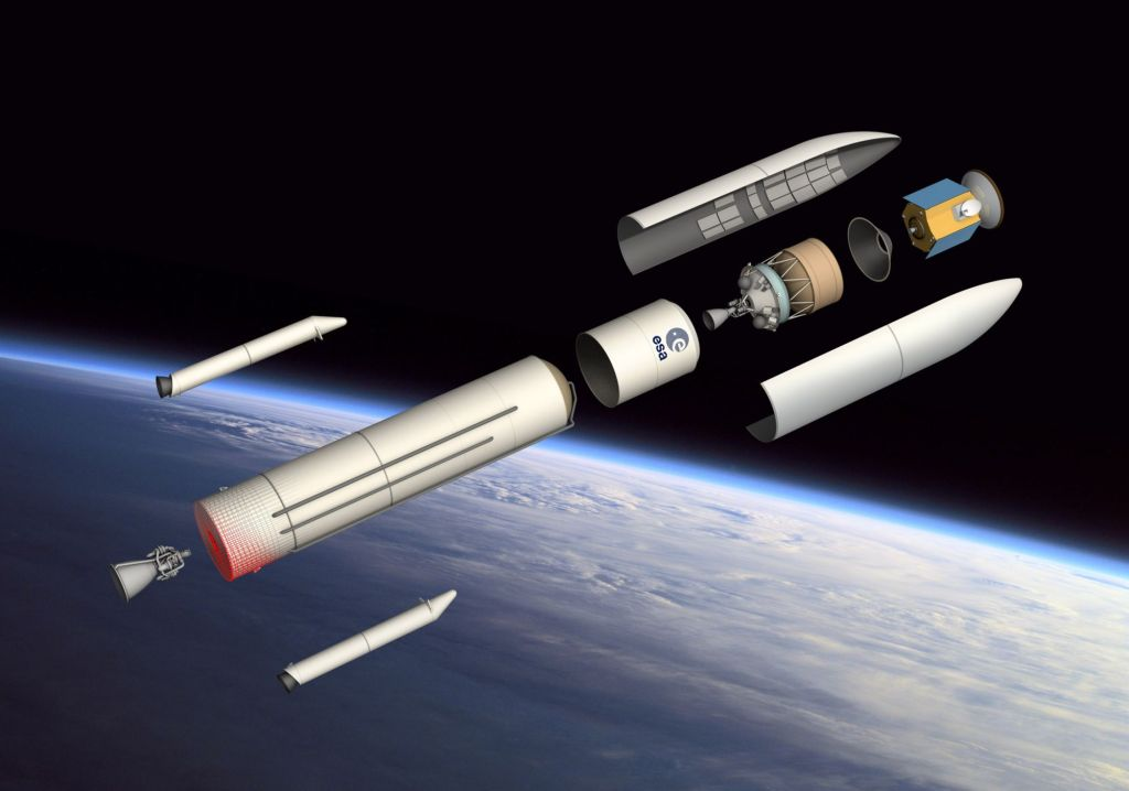 Ariane 6 broken down into its main components. Image: ESA