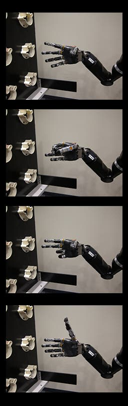 The four robot positions: fingers spread, scoop, pinch, and thumb up (credit: Journal of Neural Engineering/IOP Publishing)