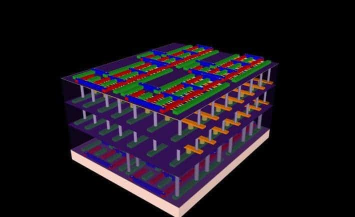 "This illustration represents the four-layer prototype high-rise chip built by Stanford engineers. The bottom and top layers are logic transistors. Sandwiched between them are two layers of memory. The vertical tubes are nanoscale electronic ""elevators"" that connect logic and memory, allowing them to work together to solve problems. Credit: Max Shulaker, Stanford"
