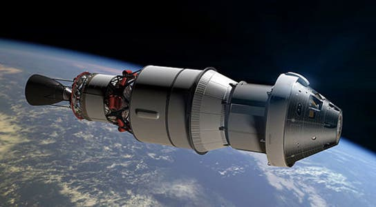 The Orion Crew Exploration Vehicle as depicted by an artist rending orbiting around Earth. Image: NASA