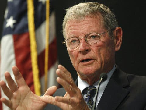 "Senator Jim Inhofe, an Oklahoma Republican, is one of the loudest voice speaking against climate change. He published a book in 2012 called ""The Greatest Hoax: How the Global Warming Conspiracy Threatens Your Future"" and said in 2006 that that United Nations invented the idea of global warming in order to ""shut down the machine called America."" Image: Sue Ogrocki/Associated Press"