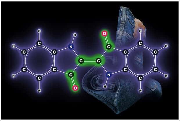 Chemical formula or the organic dye indigo. Image: ABC.net.au