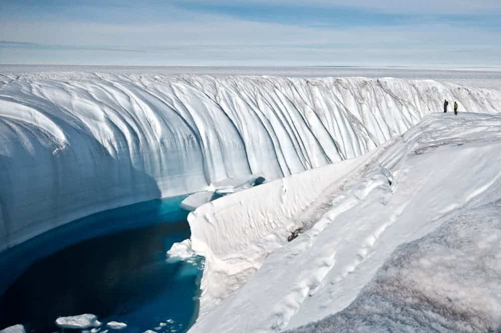 Meltwater on the Greenland ice sheet carved this canyon.  Credit: IAN JOUGHIN